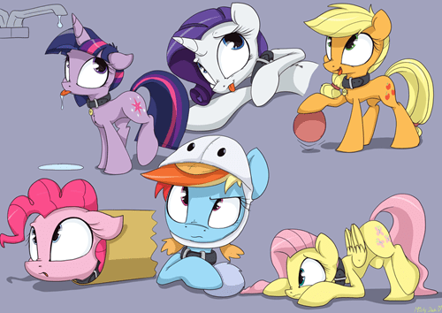 mane 6,pets,Fan Art,cute,MLP