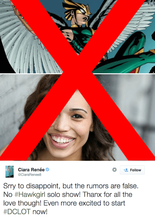 superhero memes dc hawkgirl cw spinoff rumors false