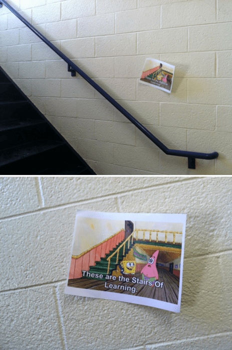 cartoon memes spongebob stairs learning