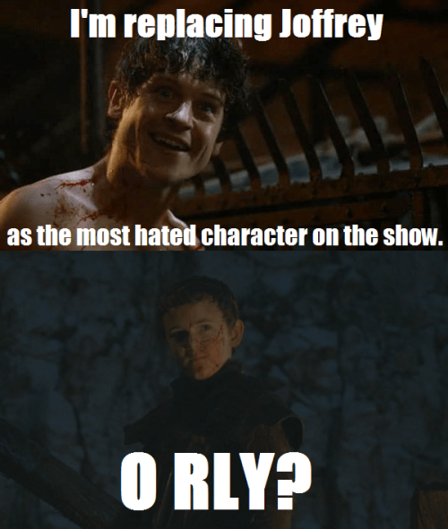 Game of Thrones memes season 5 ramsay bolton and ollie would like to topple Joffery.