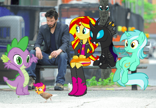lyra,sad keanu,chain,bench