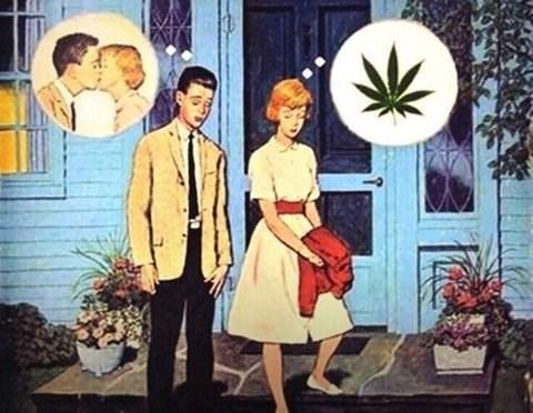 marijuana comic, first date, dating, 420