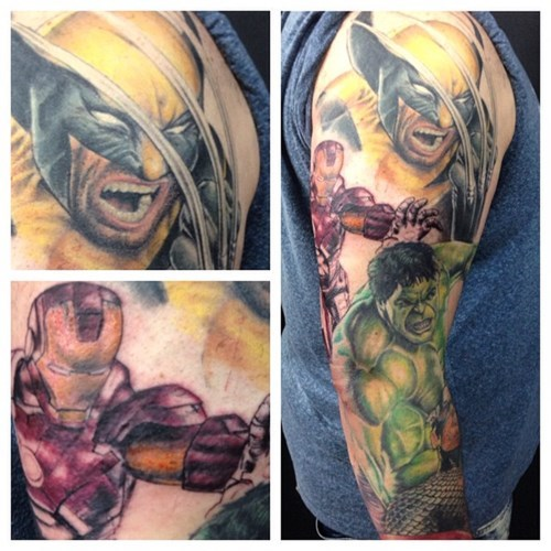 superheroes-wolverine-iron-man-marvel-full-sleeve-tattoo
