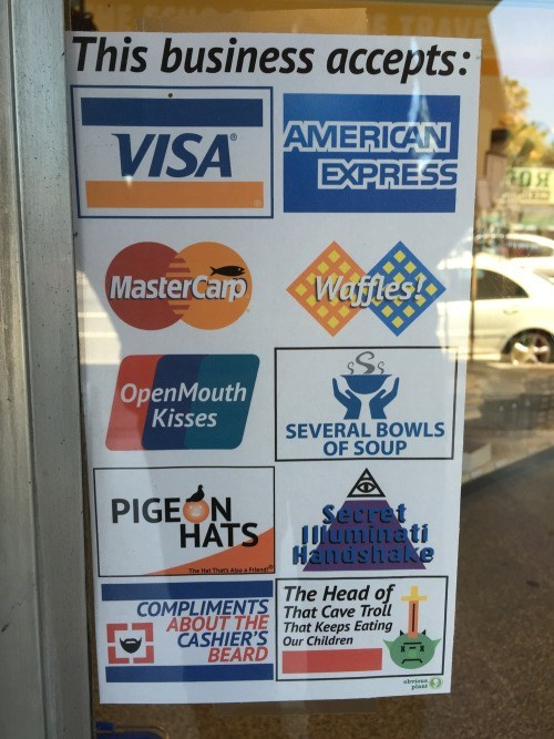 business sign other forms of payment