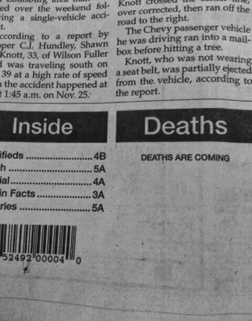 newspaper, death, misprint, typo, creepy