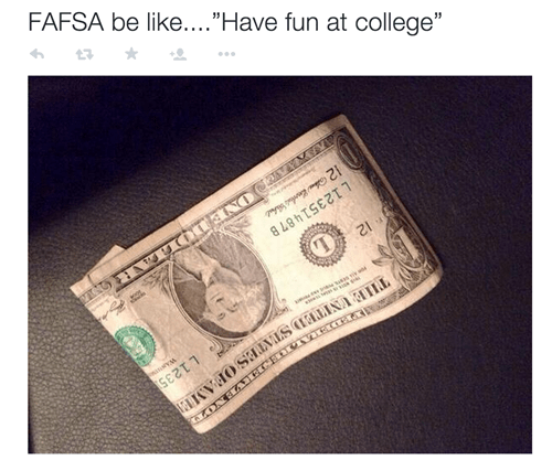 fafsa college financial aid dollar bill