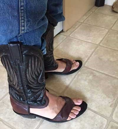 sandals cowboy boots combined