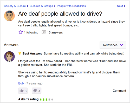deaf, blind, yahoo answers, questions, confused