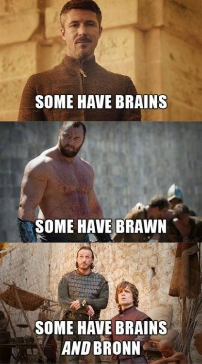 Game of thrones memes season 5 brains and Ser Bronn