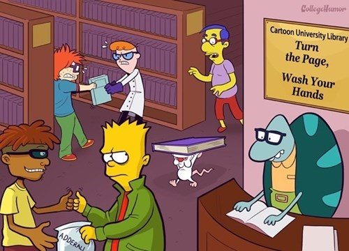 cartoon memes characters in college