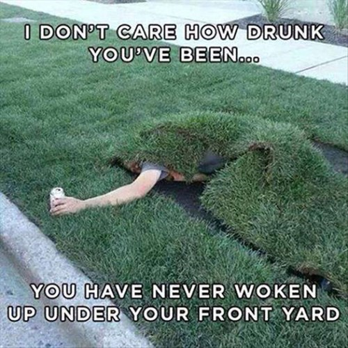 drunk, pass out, lawn, yard
