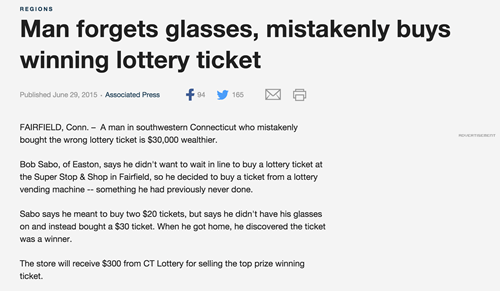man forgets glasses wins lottery