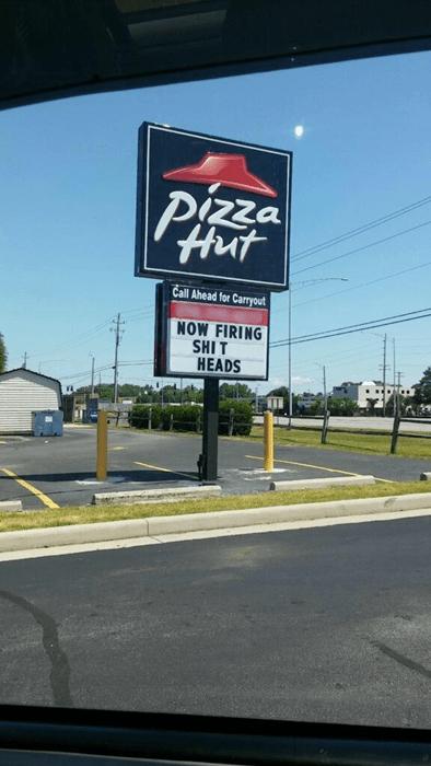 pizza hut firing sign