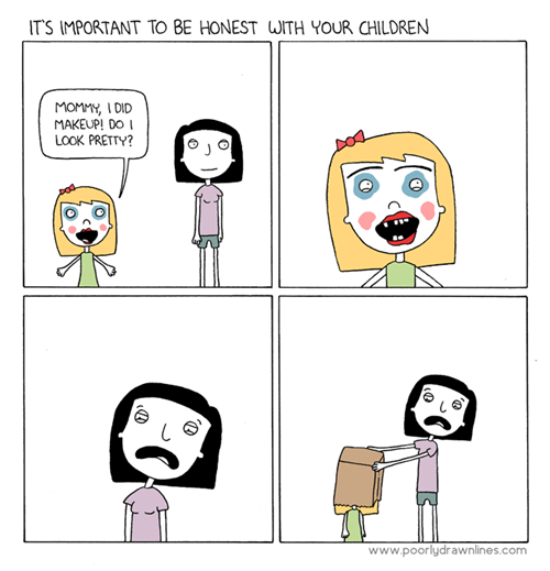 makeup, comic, kid, bad job, paper bag