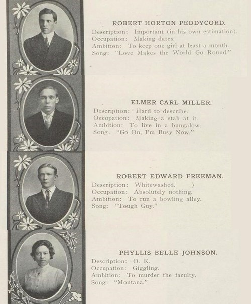 senior quotes 1911 yearbook murder faculty