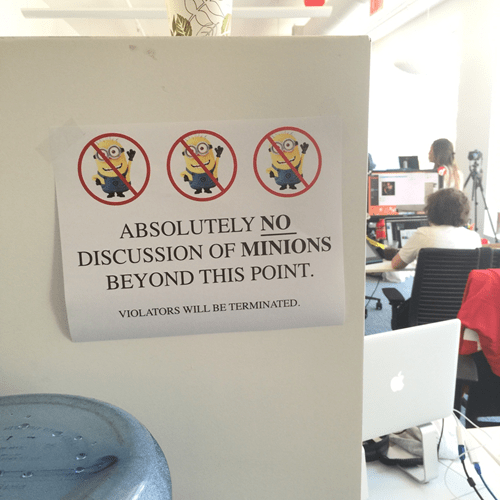 no discussing minions work sign
