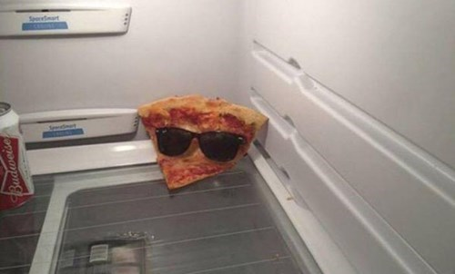 pizza slice in fridge with sunglasses