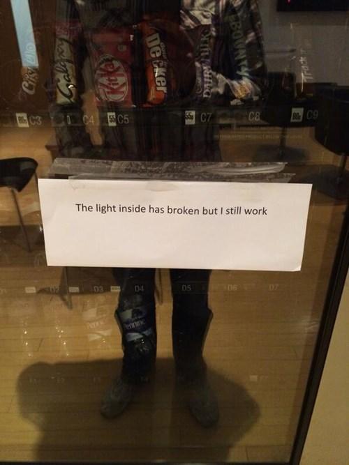 vending machine light has broken still works