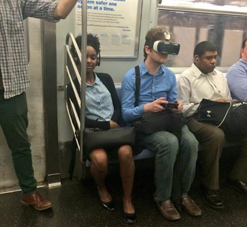 playing on subway virtual reality