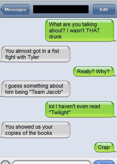 twilight, drunk, texting, secret