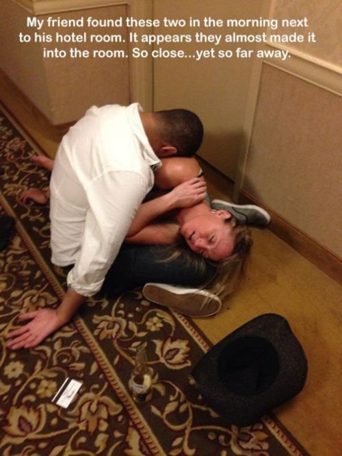 drunk, couple, passed out, hotel