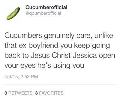cucumber, dating advice, ex boyfriend