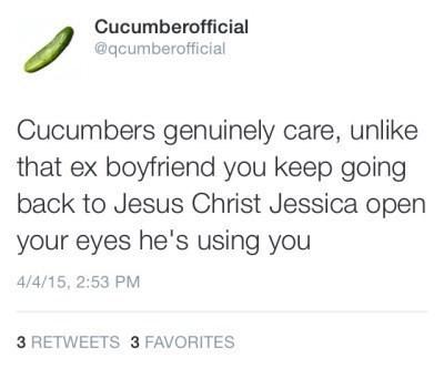 cucumber, dating advice, ex boyfriend
