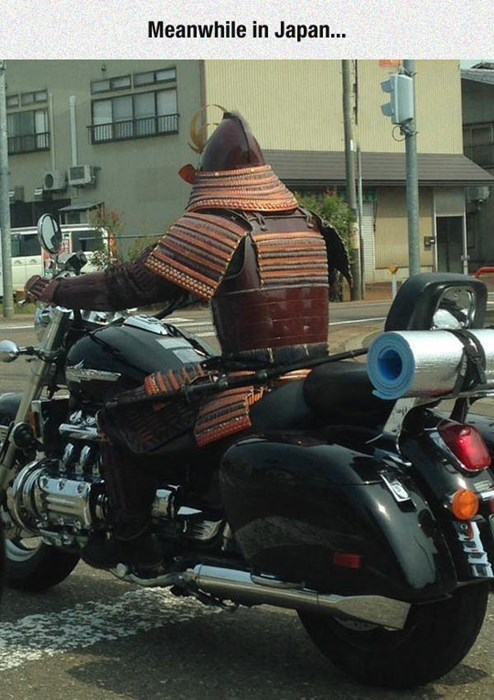 samurai on motorcycle