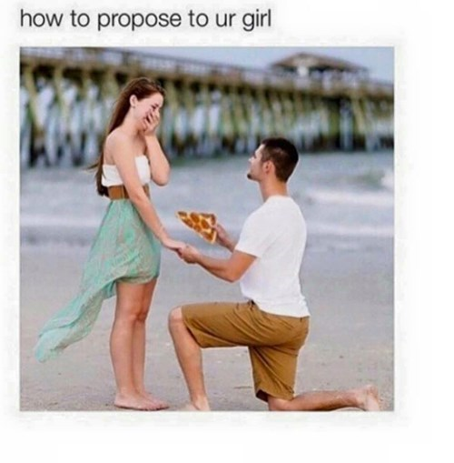 pizza, marriage proposal, beach