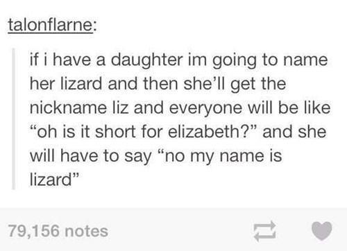 baby names, nickname, lizard, elizabeth