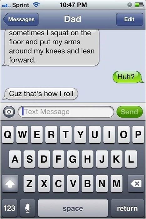 dad jokes, texting, bad jokes