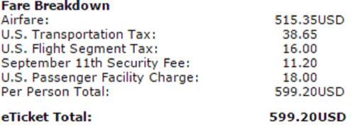 TSA, charge, 9/11, plane ticket