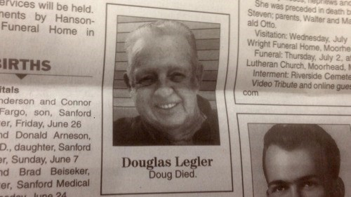 obituary, newspaper, short, funny