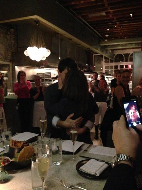 man takes selfie during engagement