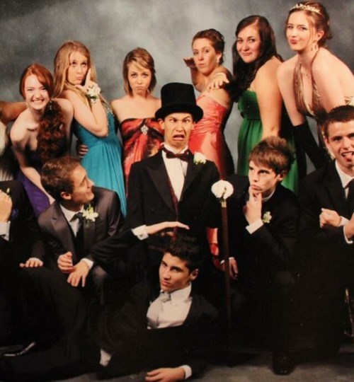 scary face kid in prom picture