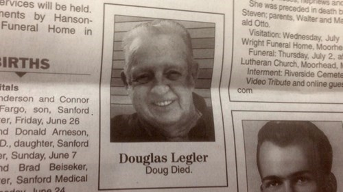 doug died newspaper obituary