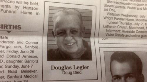 doug died newspaper obituary