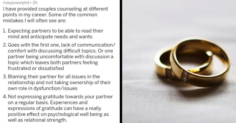marriage counselors talk about problems couples often have