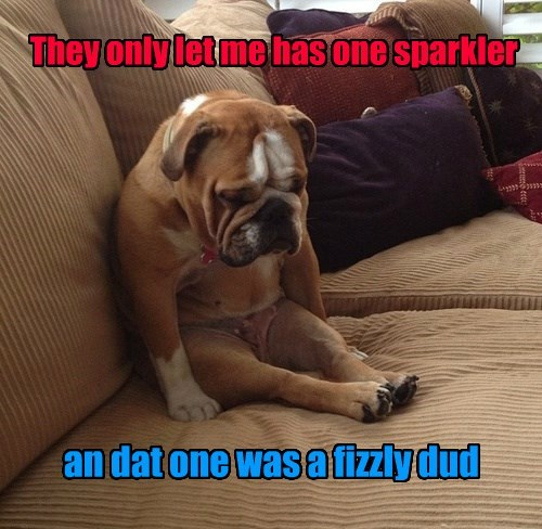 They only let me has one sparkler an dat one was a fizzly dud