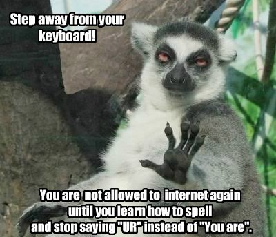 "Step away from your keyboard! You are not allowed to internet again until you learn how to spell and stop saying ""UR"" instead of ""You are""."