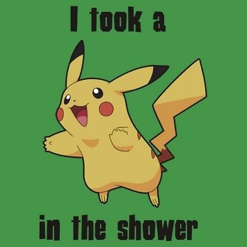 pokemon memes pikachu in the shower