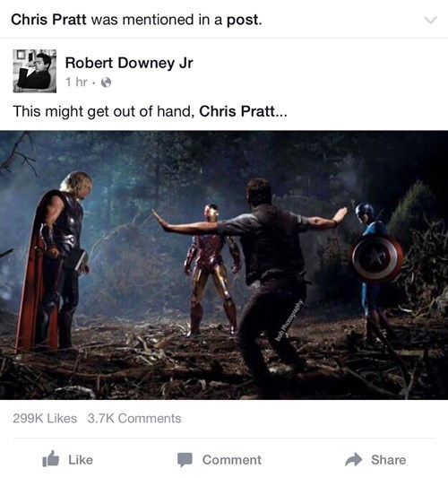 superheroes-avengers-marvel-robert-downey-jr-chris-pratt-facebook-jurassic-world