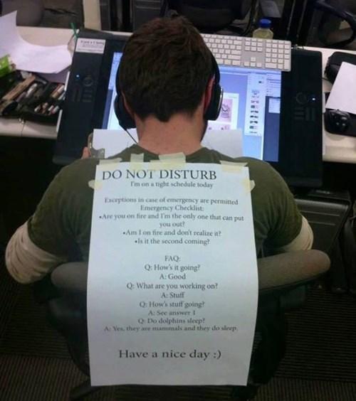 do not disturb work sign