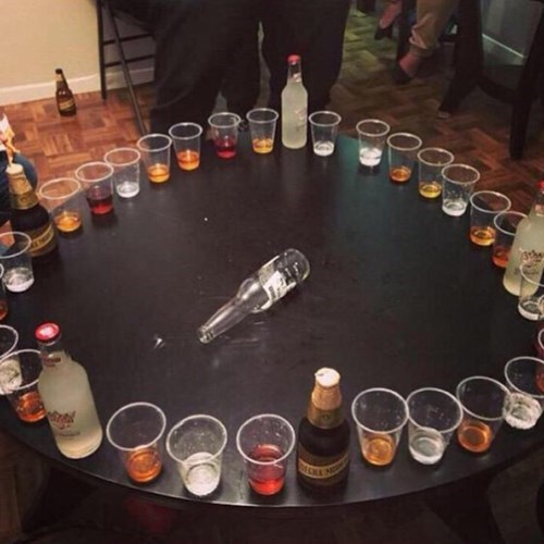 drinking games, liquor, shots, spin the bottle