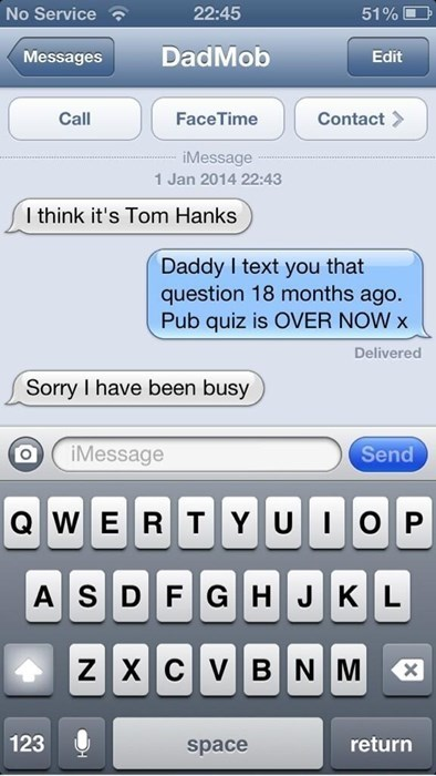 dad, texting, too late