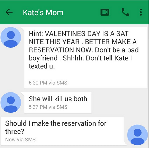 mom, texting, overbearing, valentines day, boyfriend