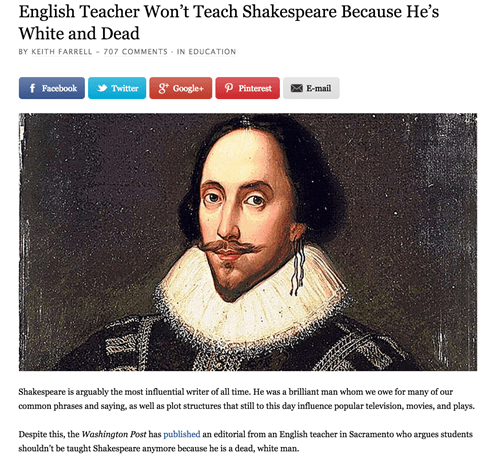 teacher won't teach Shakespeare white and dead