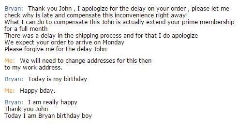 customer service, chat, birthday, awkward