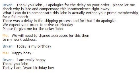 customer service, chat, birthday, awkward