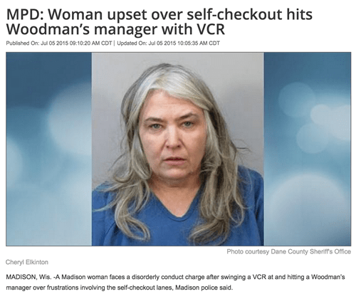 woman hits store manager with vcr